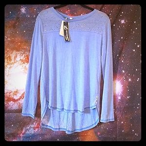 Seven7 blue long sleeve tee with rhinestones